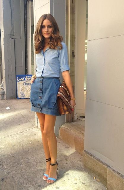 Casual look with button front skirt