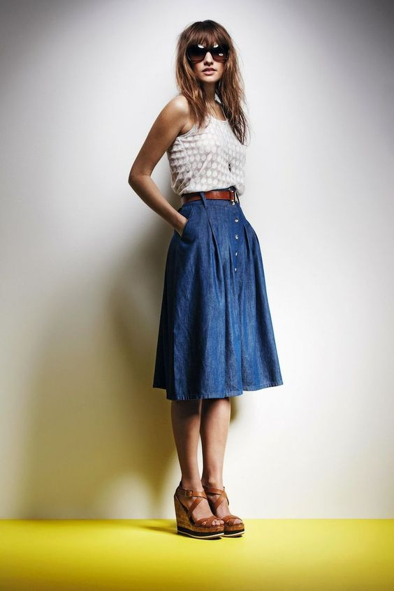 button down denim skirt with a neutral top and wedges