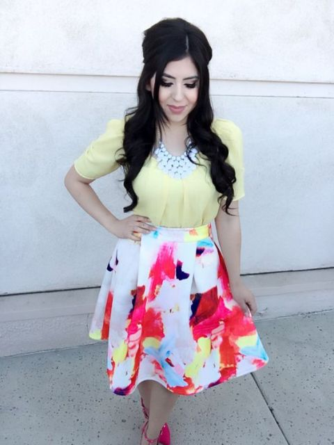 Watercolor A line skirt with pastel yellow blouse