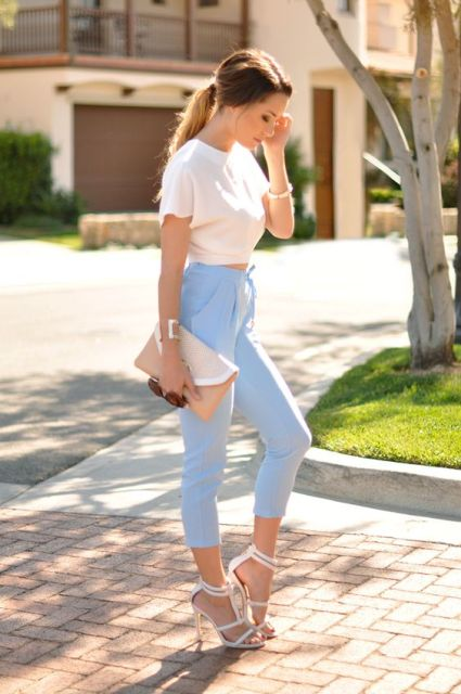 Summer simple look with blue high waist pants