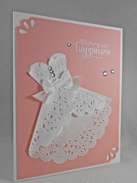 Wedding invitation with lace dress image