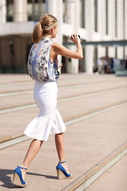 Flirty white trumpet skirt with top