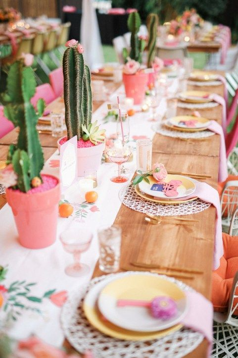 colorful desert wedding table setting