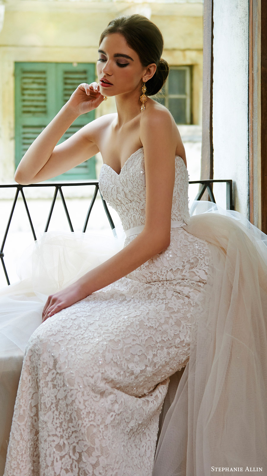stephanie allin bridal 2017 strapless sweetheart trumpet lace wedding dress (annabel) fv overskirt train