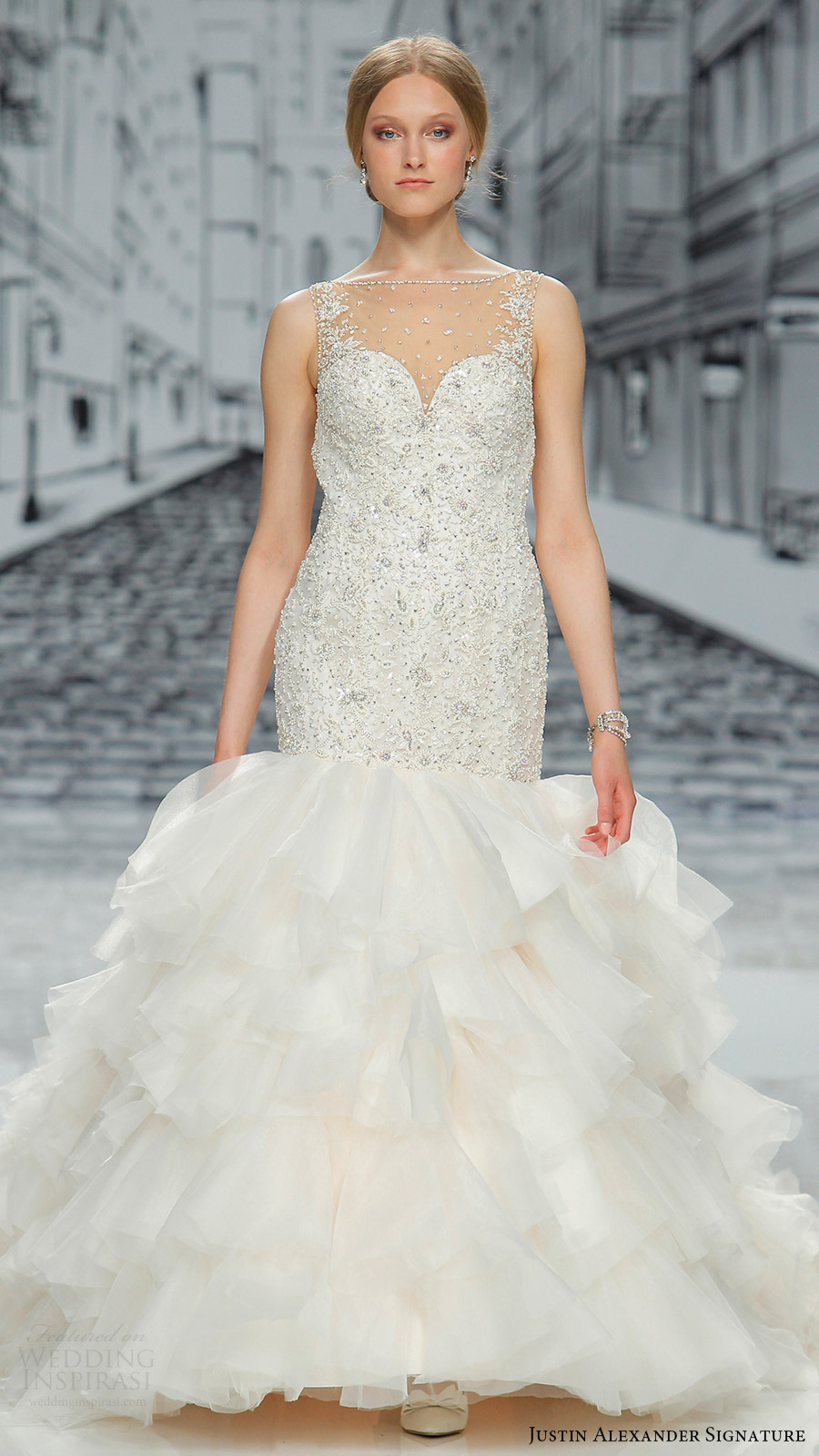 justin alexander signature spring 2017 sleeveless sweetheart illusion bateau neck beaded bodice ruffle skirt mermaid wedding dress (9852) mv