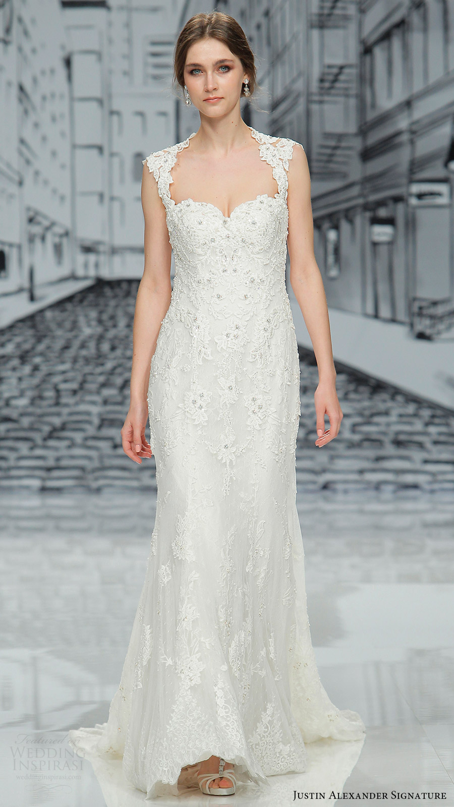 justin alexander signature spring 2017 sleveless queen anne sweetheart sheath wedding dress (9861) mv