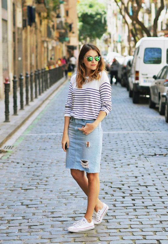 distressed denim midi, a striped shirt and converse