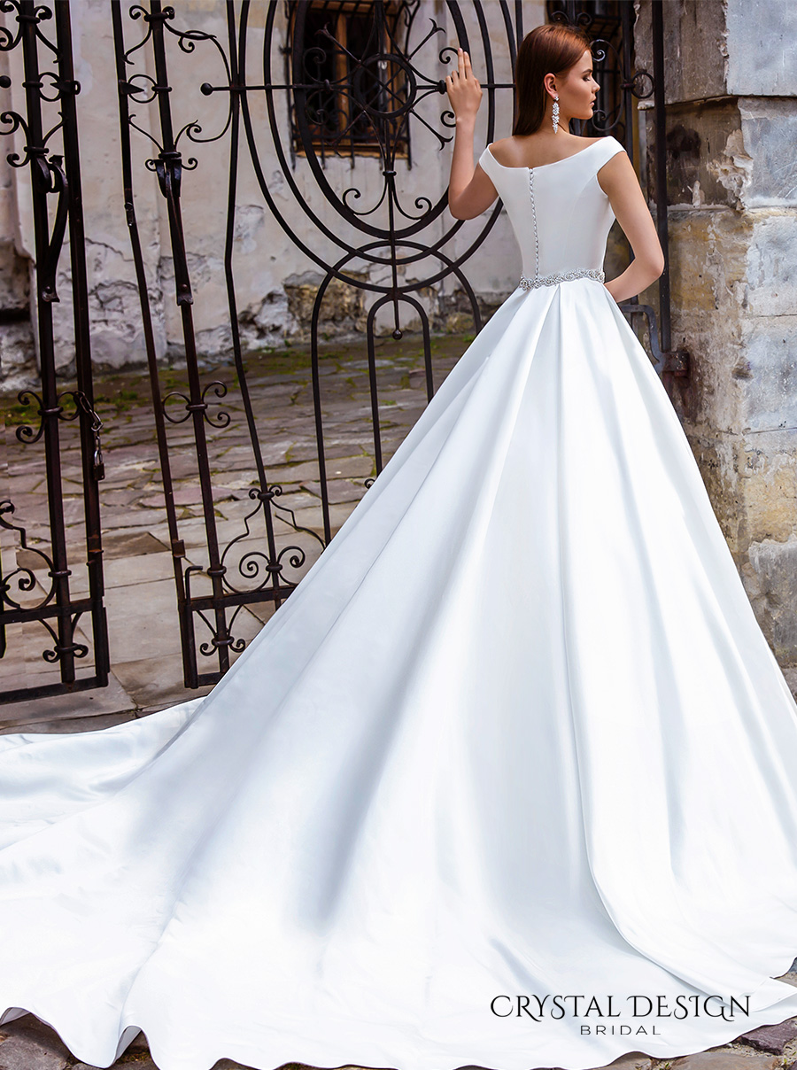 crystal design bridal 2016 off the shoulder jeweled belt chic modern simple a line ball gown wedding dress with pockets royal train (shina) bv