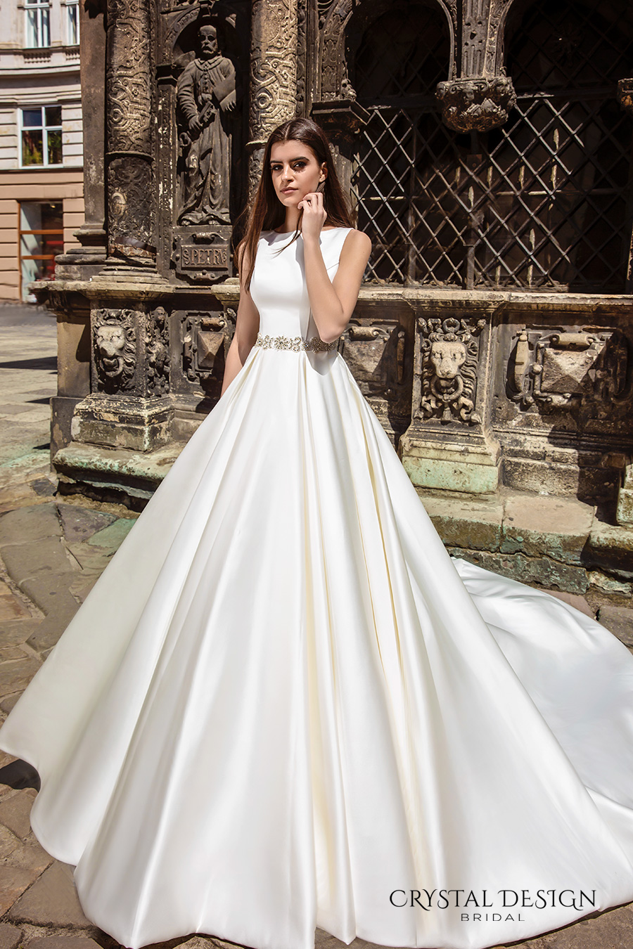 crystal design bridal 2016 sleeveless boat neckline modern simple embellished belt elegant a line wedding dress illusion back long train (valencia) mv