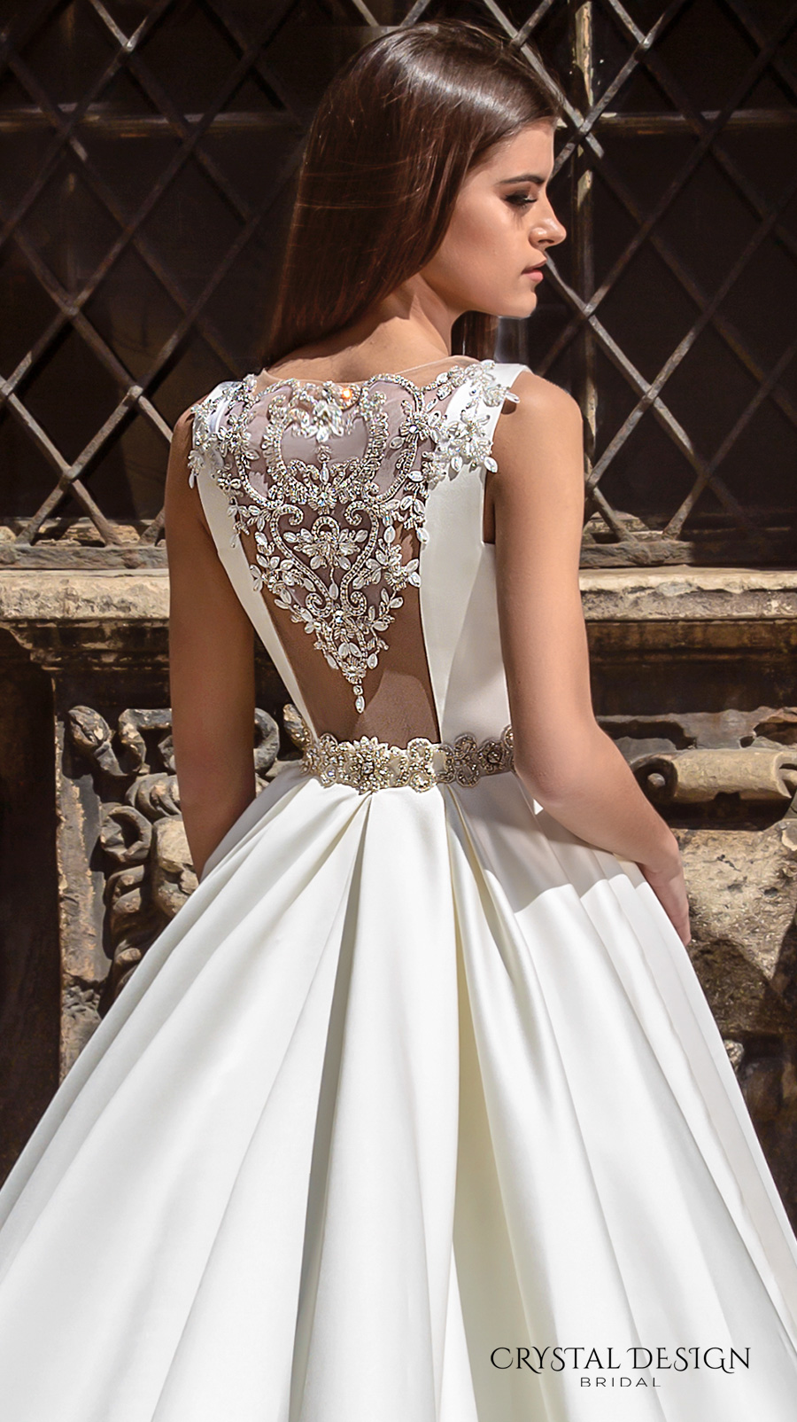 crystal design bridal 2016 sleeveless boat neckline modern simple embellished belt elegant a line wedding dress illusion back long train (valencia) zbv