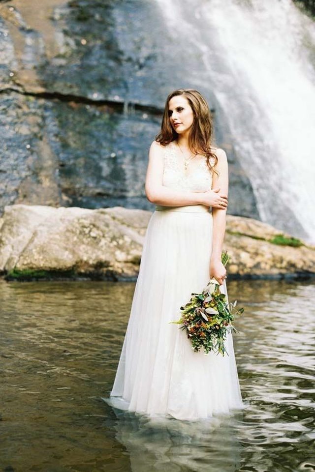 Bride in the river | Perry Vaile Photography