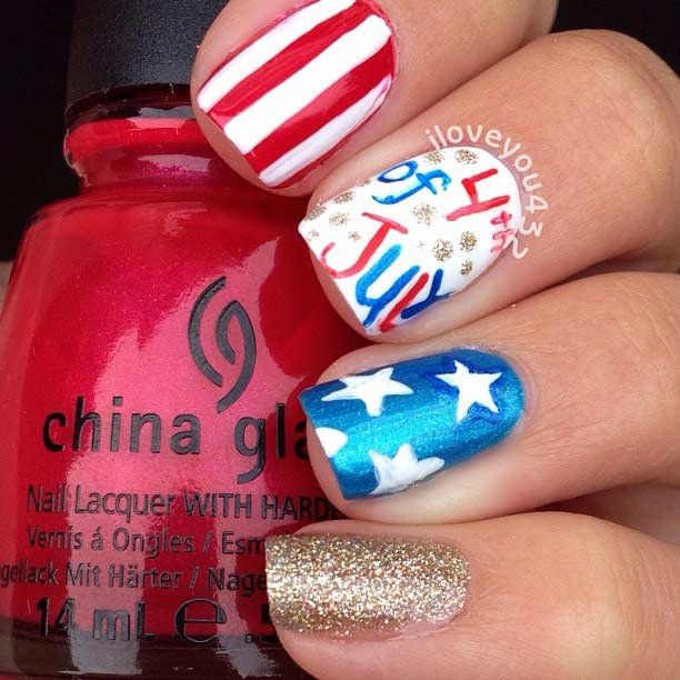 Easy 4th of July Nail Design