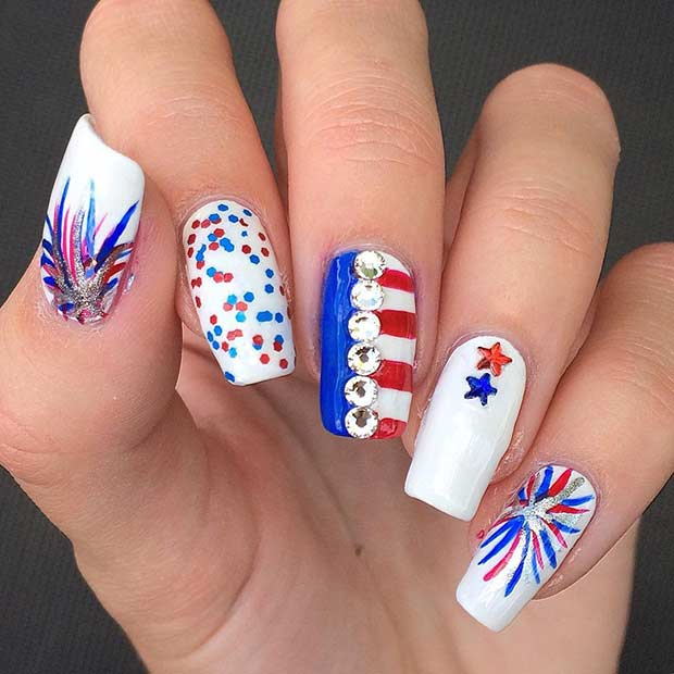 Fireworks Nail Design for the 4th of July