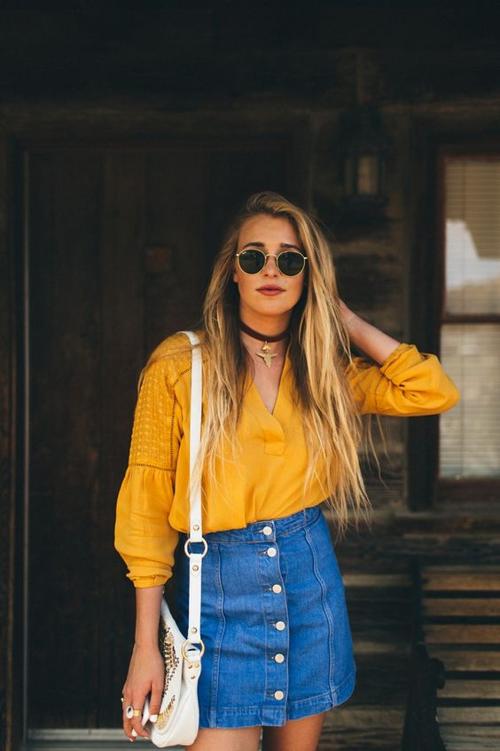 front button denim skirt with a bold yellow shirt