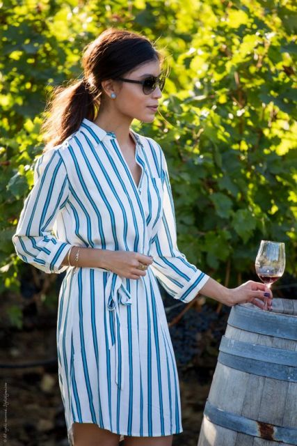 Stripe print shirtdress idea