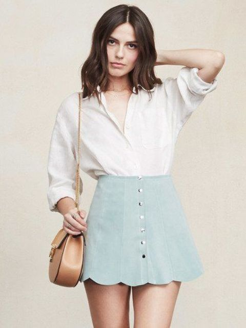 Classic white shirt and mini skirt