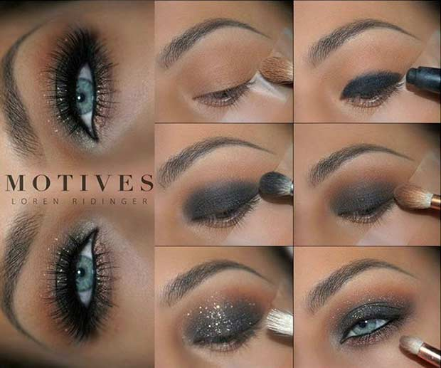 Black Smokey Eye Tutorial for Blue Eyes
