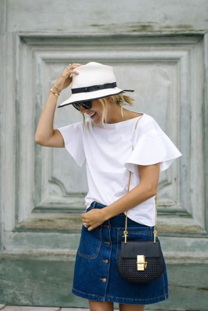 Bell sleeved shirt and denim skirt
