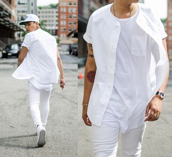 sport style all white look with a tee, shirt and jeans