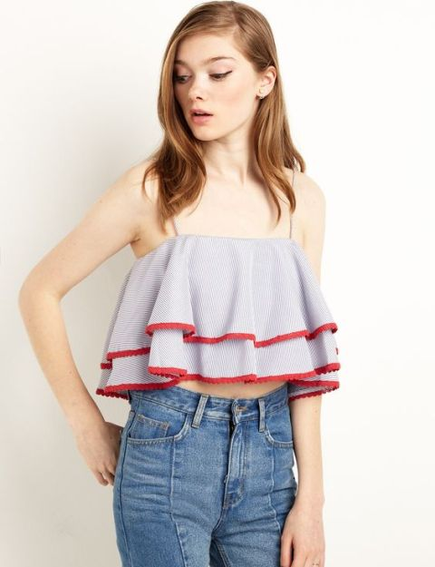 Funny off the shoulder crop top with ruffles