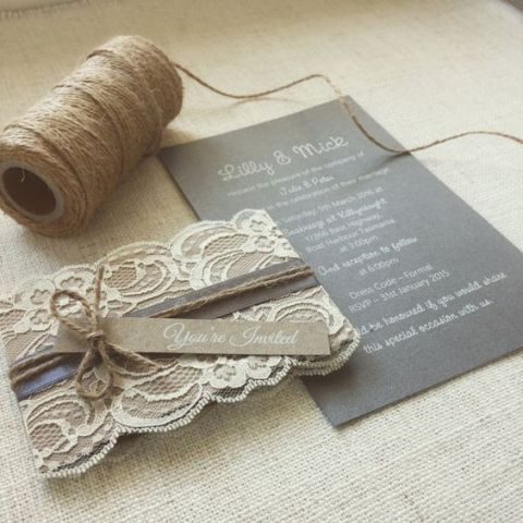 Wedding invitation with lace and twine