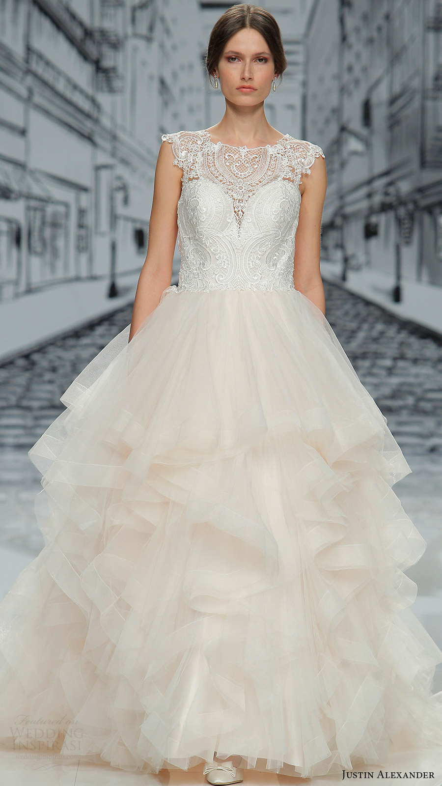 justin alexander spring 2017 cap sleeves jewel neck lace bodice ball gown wedding dress (8888) mv layered skirt