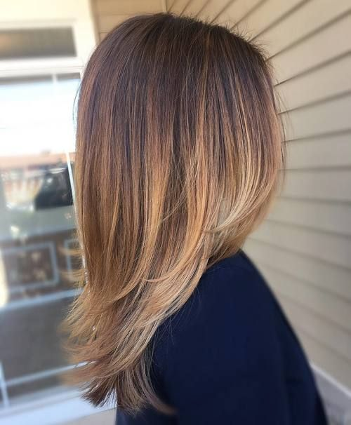 brown with caramel and blond highlights