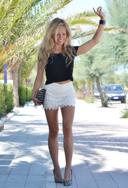 White lace shorts and black top