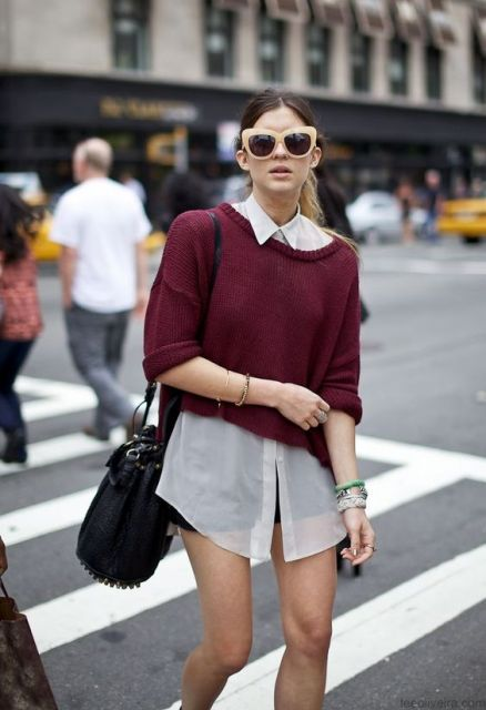Look with sweater over the sheer shirt