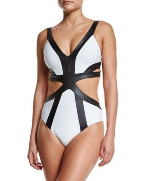 leather strappy swimsuit