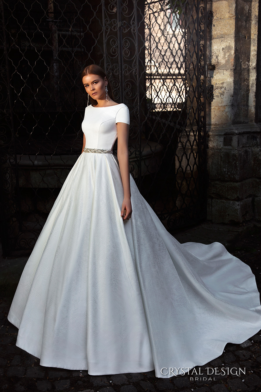 crystal design bridal 2016 short sleeves bateau neckline elegant chic simple a line ball gown wedding dress open back chapel train (roma) mv