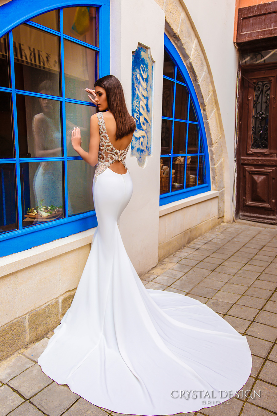 crystal design bridal 2016 sleeveless bateau neckline lightly embellished elegant chic modern sheath wedding dress low back chapel train (july) bv