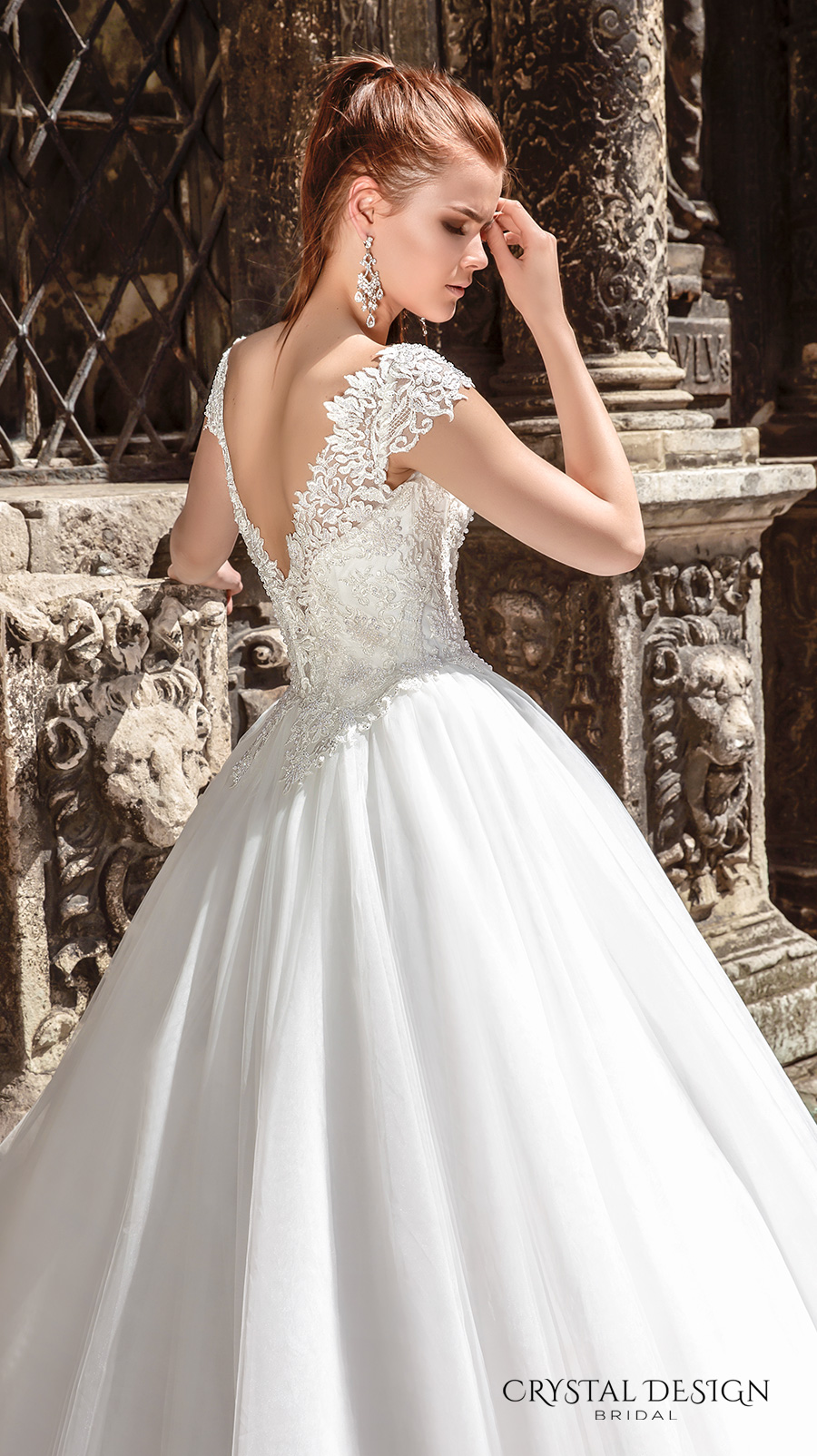 crystal design bridal 2016 cap sleeves scoop round neckline heavily embellished bodice a line tulle ball gown wedding dress v back chapel train (maram) zbv
