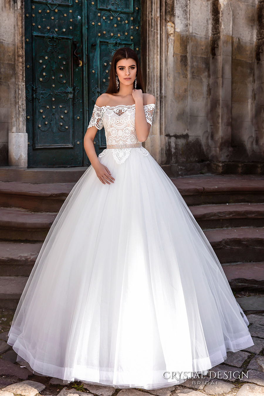 crystal design bridal 2016 off the shoulder lace bodice embellished hem princess tulle ball gown wedding dress illusion lace back royal train (marisa) mv