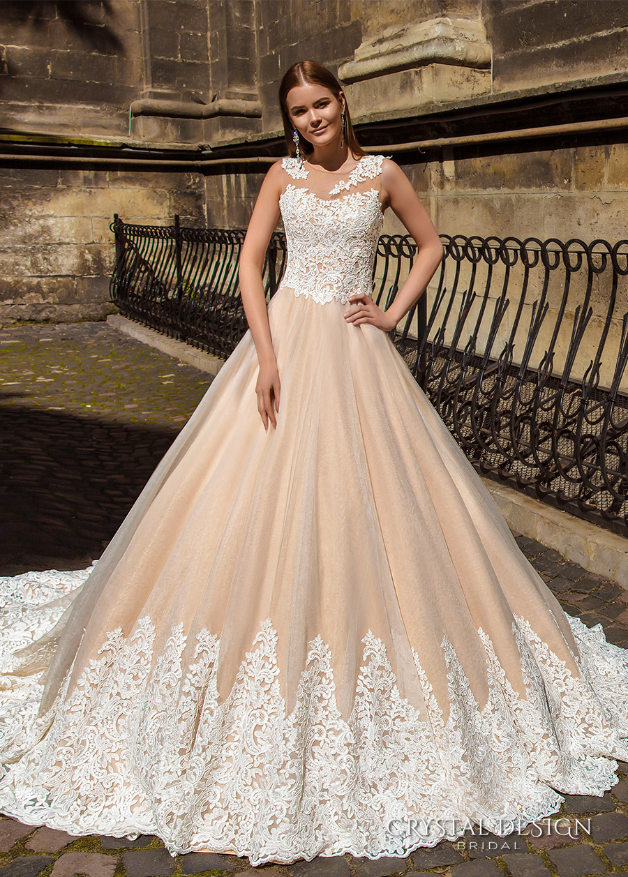crystal design bridal 2016 sleeveless embellished semi sweetheart neckline lace bodice champagne color princess a line ball gown wedding dress illusion back royal train (ariel) mv