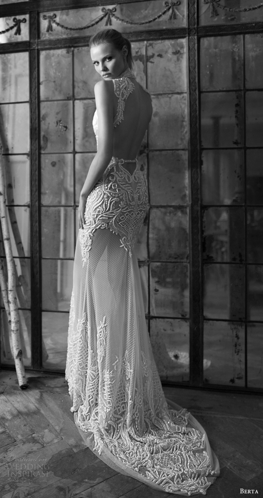 berta bridal fall 2016 sleeveless high neck trumpet wedding dress (16 116) bv keyhole back train