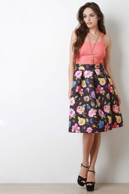 Outfit with floral skirt and bright shirt