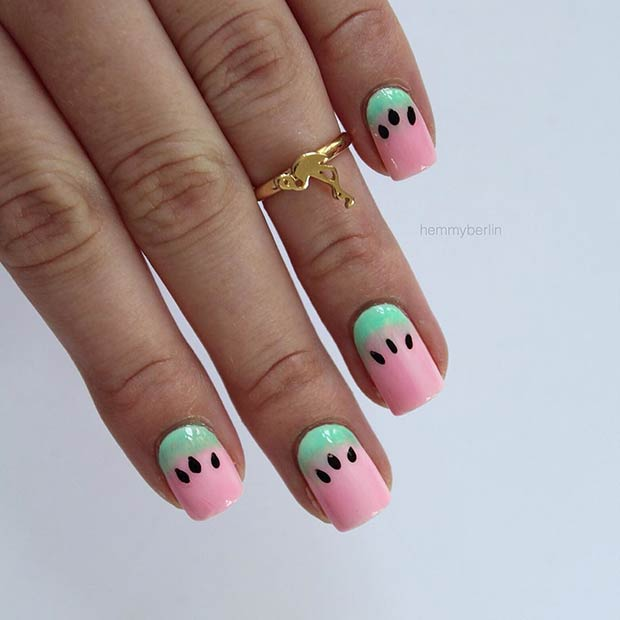 Pastel Pink and Green Watermelon Nails