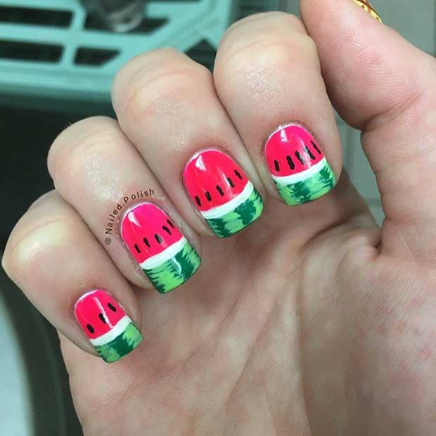 Detailed Watermelon Nail Design