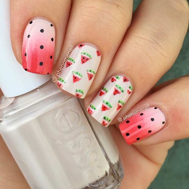 Polka Dot Watermelon Nail Design