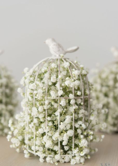 Birdcage filled with baby breath flowers