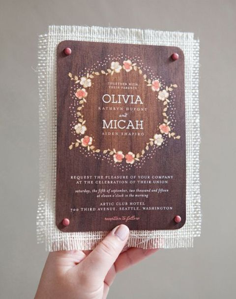 Wood wedding invitation with burlap