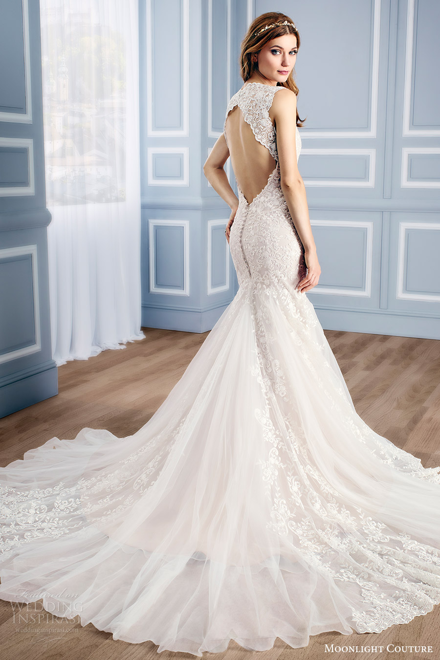 moonlight couture bridal fall 2016 sleeveless vneck lace mermaid wedding dress (h1312) bv keyhole back train