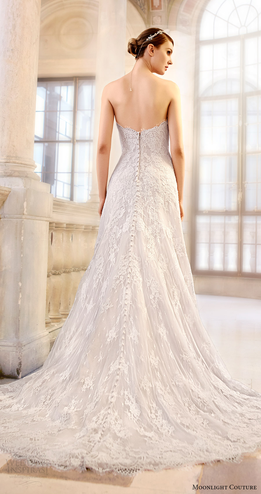 moonlight couture bridal fall 2016 strapless sweetheart aline lace wedding dress (h1313) bv train