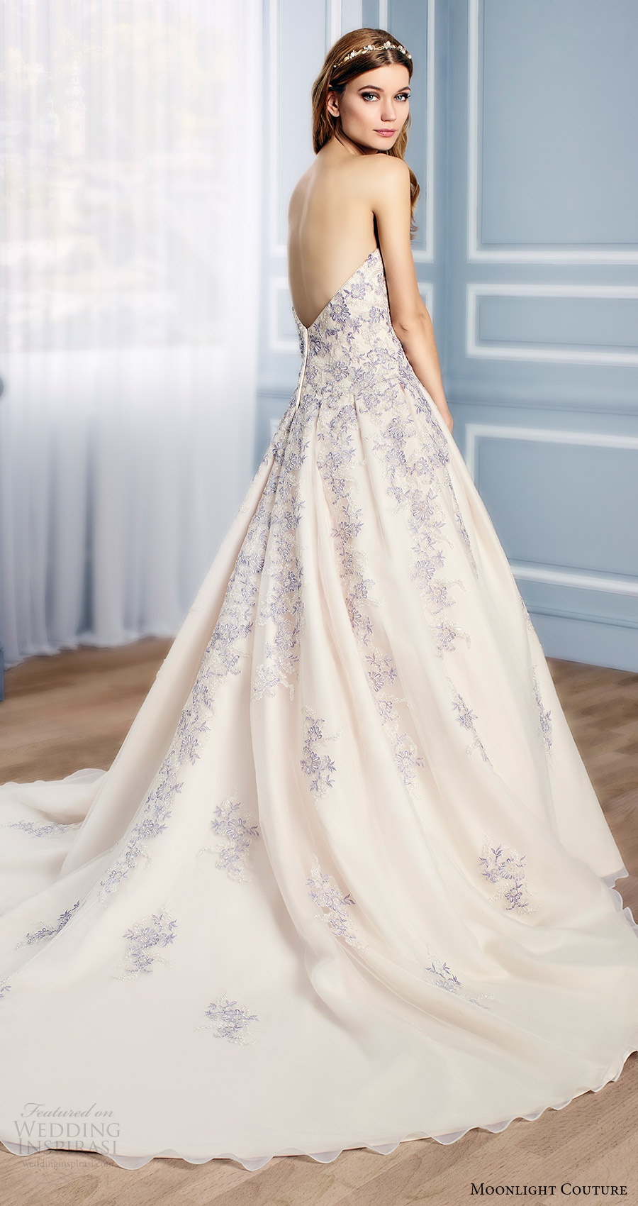 moonlight couture bridal fall 2016 strapless sweetheart lace aline wedding dress (h1311) bv multicolor train