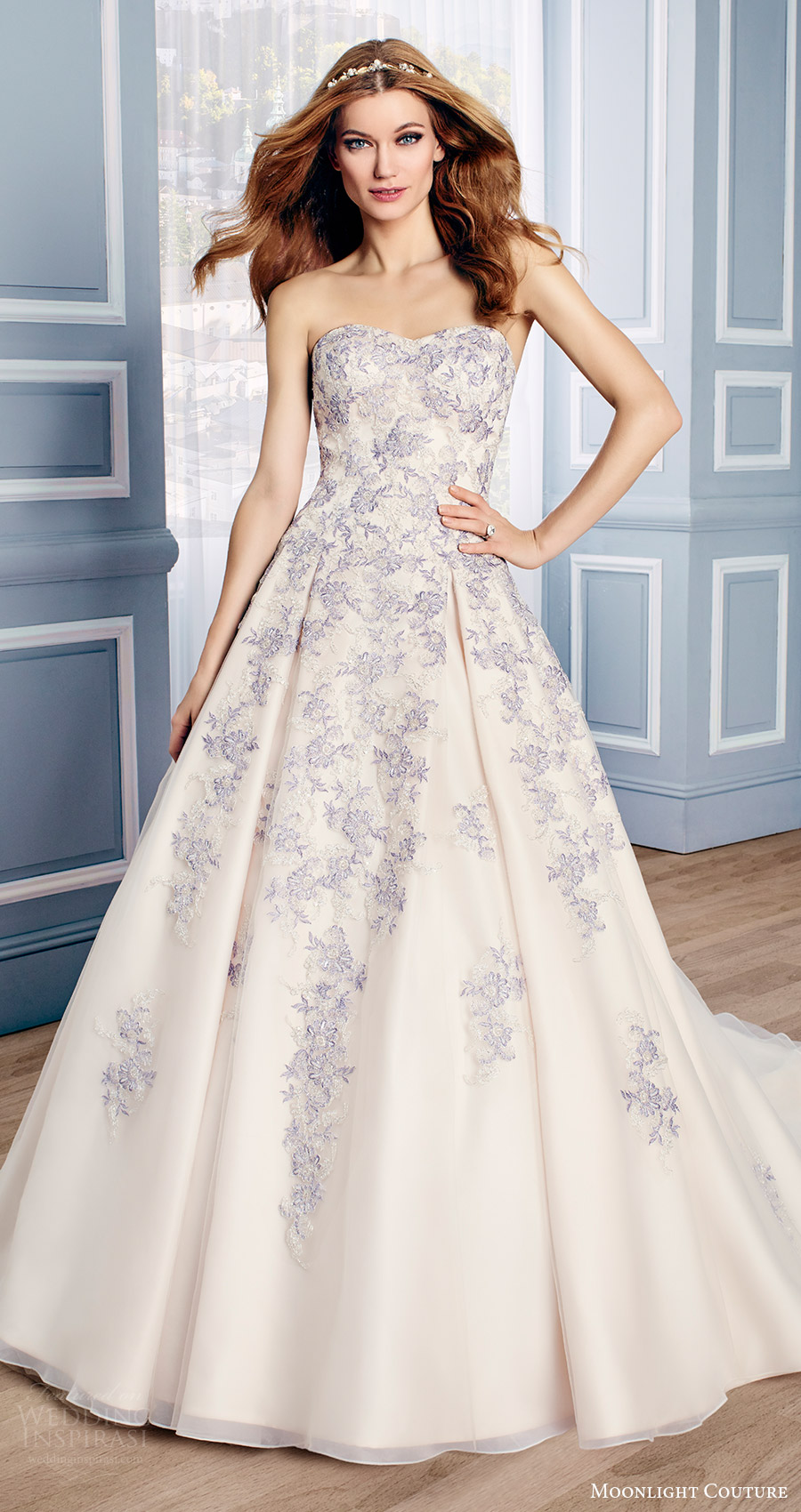 moonlight couture bridal fall 2016 strapless sweetheart lace aline wedding dress (h1311) mv multicolor
