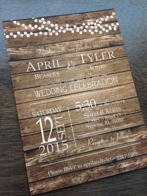 Wood effect wedding invitation