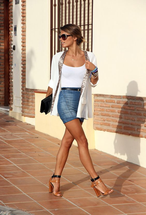 denim mini with a white top and vest