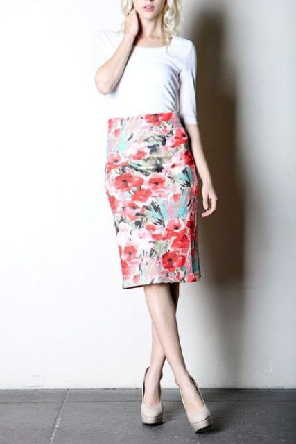 Watercolor pencil skirt and white shirt
