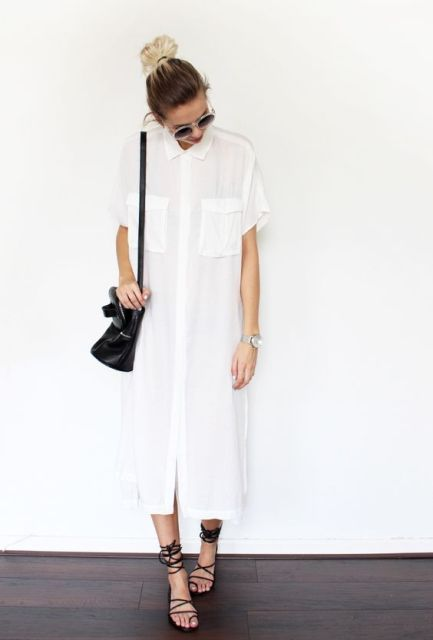 Midi shirtdress with lace up flats